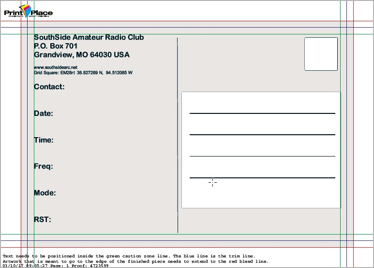 QSL Card back proof